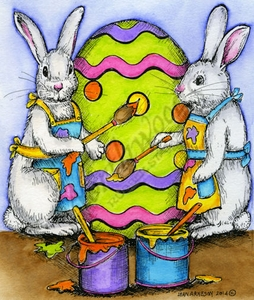 P9421 Bunny Pair Painting Easter Eggs
