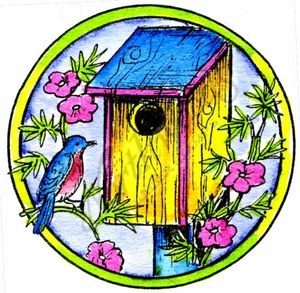 C10012 Wood Birdhouse In Circle