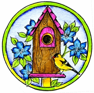 C10014 Floral Birdhouse In Circle