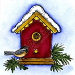 C10145 Birdhouse And Chickadee