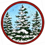 C10165 Snowy Spruce In Circle Frame
