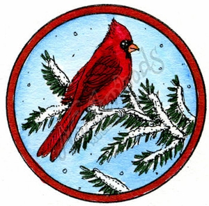 C10169 Snowy Branch With Cardinal Circle Frame
