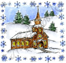 C10351 Small Church In Snowflake Frame