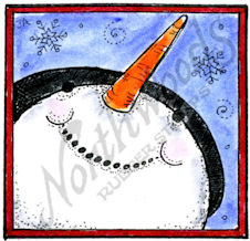 C10370 Snowman Face Looking Up In Square Frame