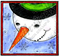 C10371 Snowman Face Looking Down In Square Frame