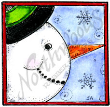 C10372 Snowman Face Looking Right In Square Frame