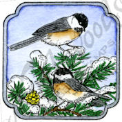 C9868 Chickadees In Curved Square