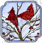 C9869 Cardinals In Curved Square