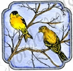 C9870 Goldfinches In Curved Square