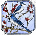 C9871 Blue Jays In Curved Square