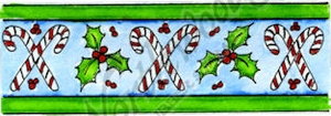 D9657 Candy Cane And Holly Border