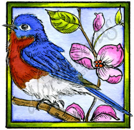 CC10197 Bluebird In Square Frame