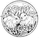 CC6473 Bunnies In Flower Circle