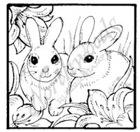 CC7257 Bunny Pair With Lilies Square