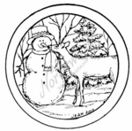 CC7740 Snowman And Deer Circle