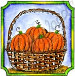 CC8705 Pumpkin Basket In Notched Frame
