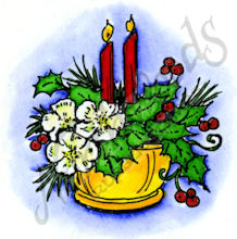 CC8786 Two Candles, Holly And Flower Vase