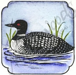 CC9032 Loon In Curved Frame