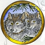 CC9051 Circle Wolf Pair With Pine
