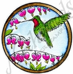 CC9082 Circle Hummingbird With Bleeding Hearts