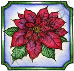 CC9238 Poinsettia Blossom In Notched Square