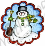 CC9675 Snowman In Scalloped Circle