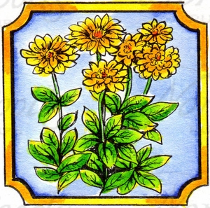 CC9930 Zinnias In Notched Square
