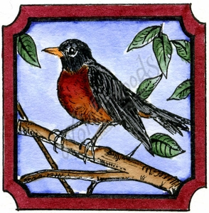 CC9981 Robin In Notched Square