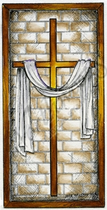 O9426 Cross With Brick In Rectangle Frame