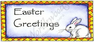 D9022 Easter Greetings With Bunny In Checked Frame