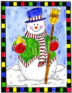E10365 Snowman With Bird In Checkered Frame