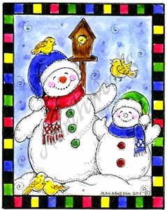 E10366 Snowman And Baby With Bird In Checkered Frame