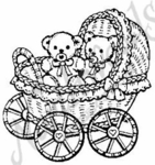 F1102 Teddies In Buggy
