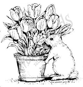 F4563 Bunny With Tulip Pot - Small