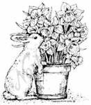 F4564 Bunny With Daffodil Pot - Small