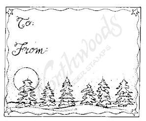 F4908 Snowy Spruce and Moon Gift Tag