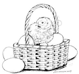 F7939 Baby Chick In Basket With Eggs