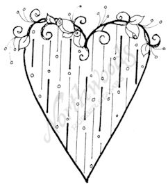 F8380 Heart With Lines and Rose Vine