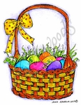F8453 Easter Egg Basket With Polka Dot Bow