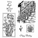 Geraniums & Framed Tulips Cling Mounted Stamp Set