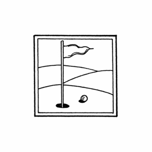 Golf Pin in Square Frame - C10430