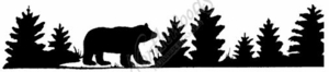 I7359 Silhouette Bear and Pine Border
