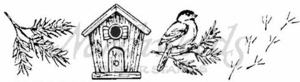 II4016 Chickadee, Birdhouse and Tracks Cube