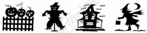 II4180 Silhouette Haunted House Cube