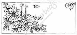 J1943 Candle and Poinsettia Gift Tag