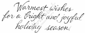 J4884 Cursive Warmest Wishes For A