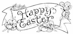 J7965 Happy Easter Banner With Flowers