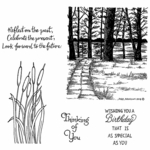 Lake Scene & Cattail Cling Mounted Stamp Set