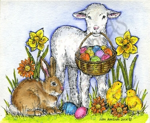 M9428 Lamb, Bunny And Chicks With Easter Basket