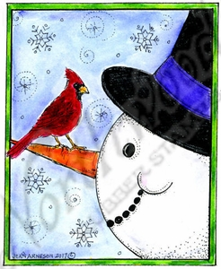 M10376 Snowman, Carrot Nose And Cardinal In Rectangle Frame